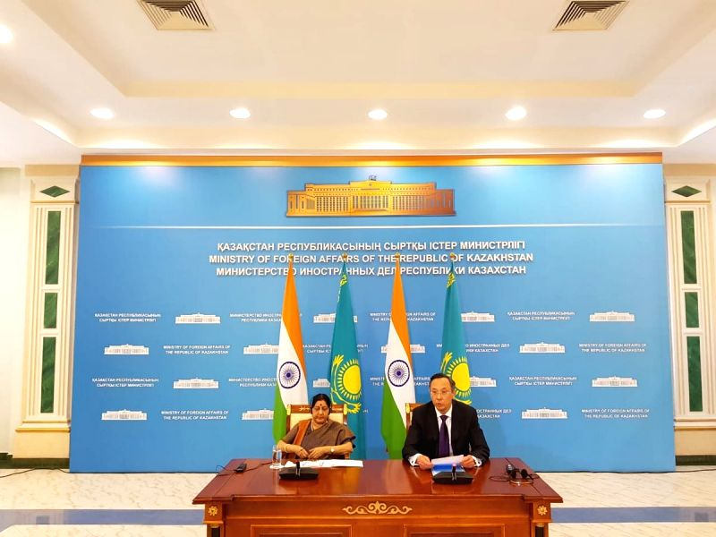 External Affairs Minister Sushma Swaraj and Kazakhstan Foreign Minister Kairat Abdrakhmanov during a bilateral meeting, in Astana, Kazakhstan, on  Aug 3, 2018 - Sushma Swaraj