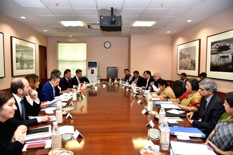 External Affairs Minister Sushma Swaraj and Switzerland Foreign Affairs Minister Ignazio Cassis participate in delegation level talks, in New Delhi, on Aug 10, 2018. - Sushma Swaraj