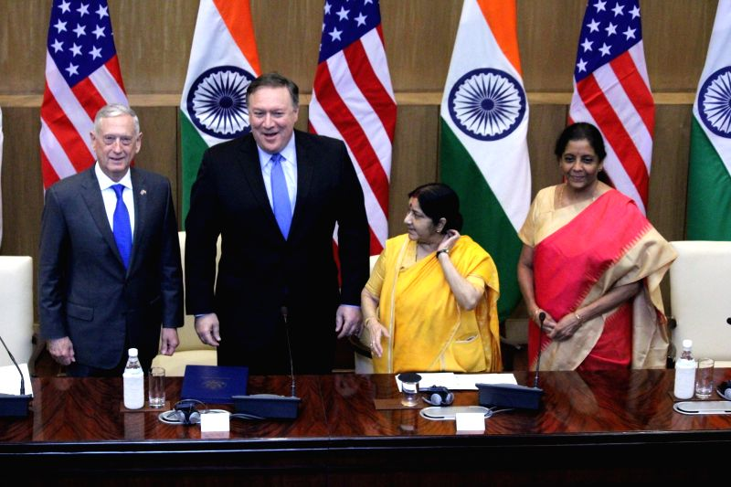 External Affairs Minister Sushma Swaraj and Defence Minister Nirmala Sitharaman with US Secretary of State Mike Pompeo and Defence Secretary Jim Mattis during high-level 2+2 dialogue in ...