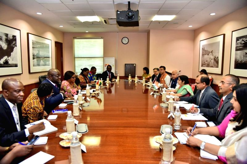 External Affairs Minister Sushma Swaraj and Ghana's Foreign Affairs and Regional Integration Minister Shirley Ayorkor Botchwey during delegation-level talks, in New Delhi on July 18, 2018. - Sushma Swaraj
