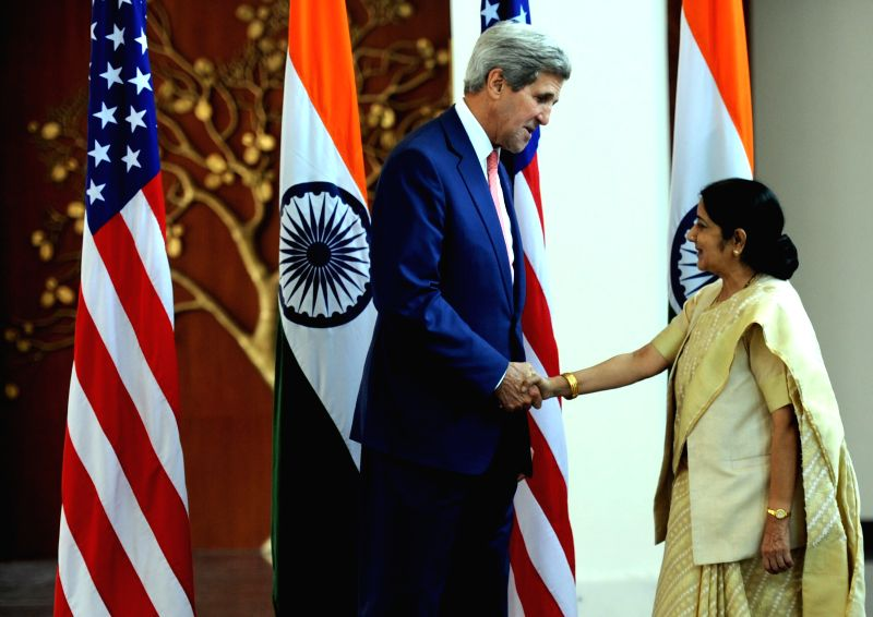 External Affairs Minister Sushma Swaraj and U.S. Secretary of State John Kerry during a meeting in New Delhi on July 31, 2014.
