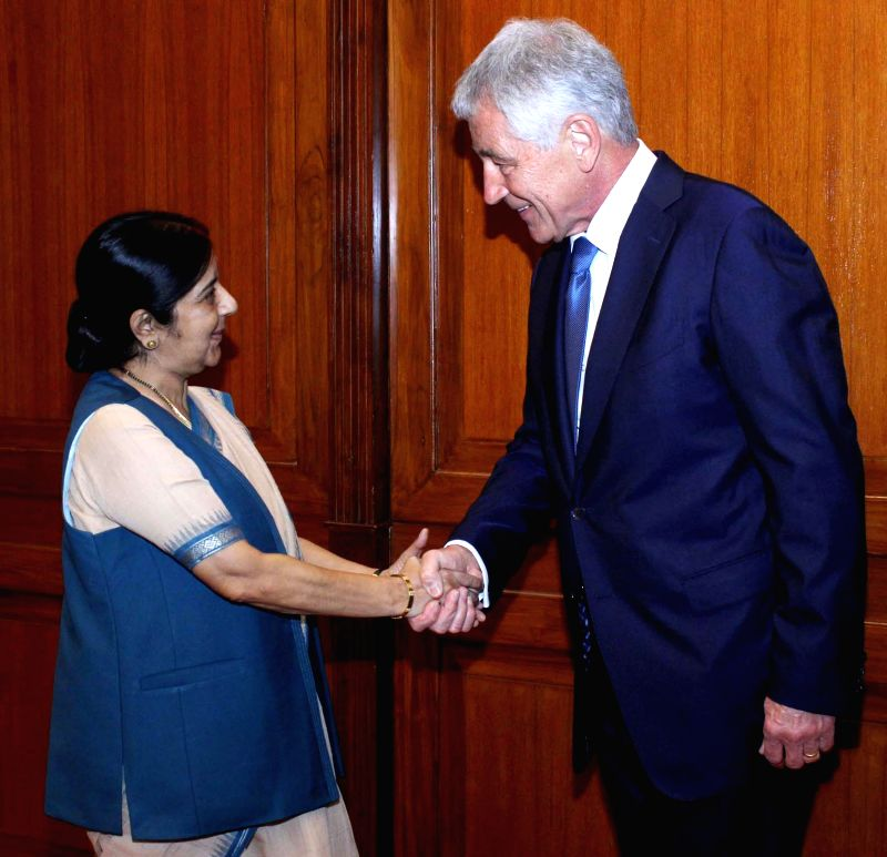 External Affairs Minister Sushma Swaraj and US Defence Secretary Chuck Hagel during a meeting in New Delhi on Aug 8, 2014.