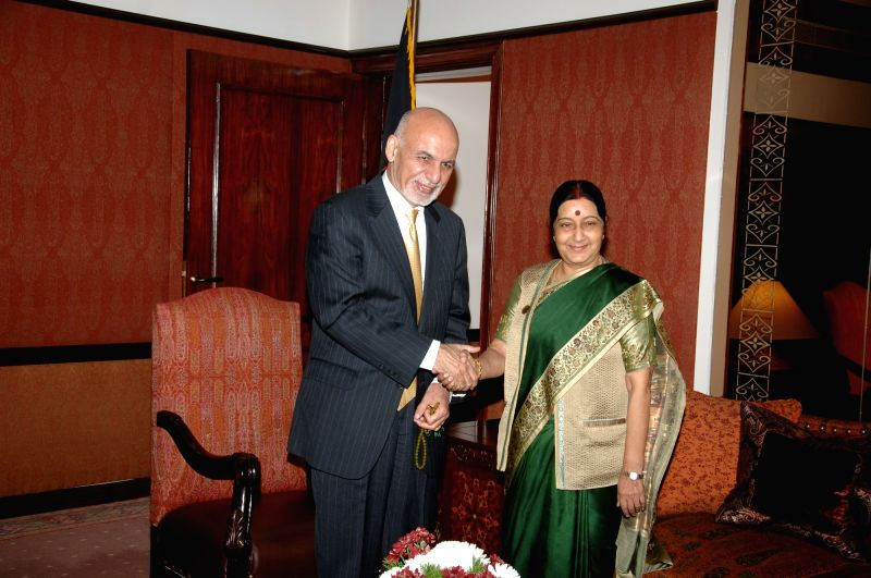 External Affairs Minister Sushma Swaraj calls on President Mohammad Ashraf Ghani of Afghanistan during her two-day visit to Pakistan on Dec 9, 2015.