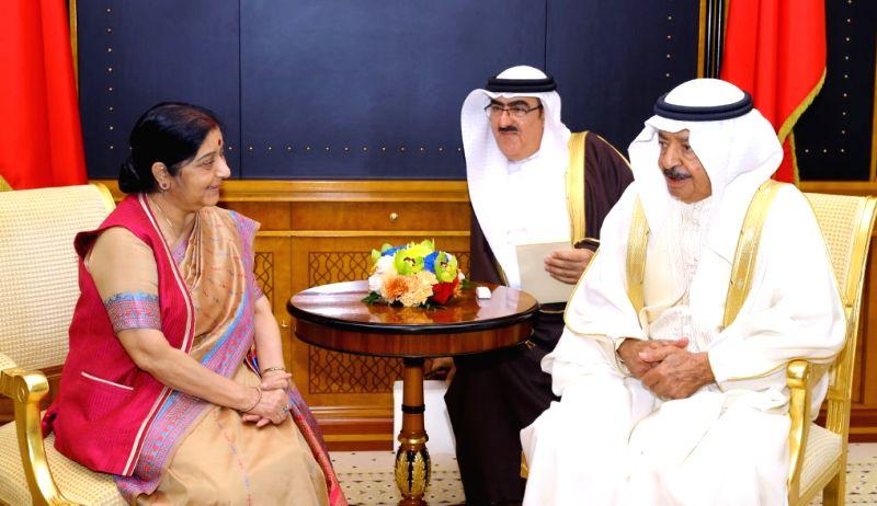 External Affairs Minister Sushma Swaraj calls on Bahrain Prime Minister Prince Khalifa Bin Salman Al Khalifa, in Manama on July 15, 2018. - Sushma Swaraj