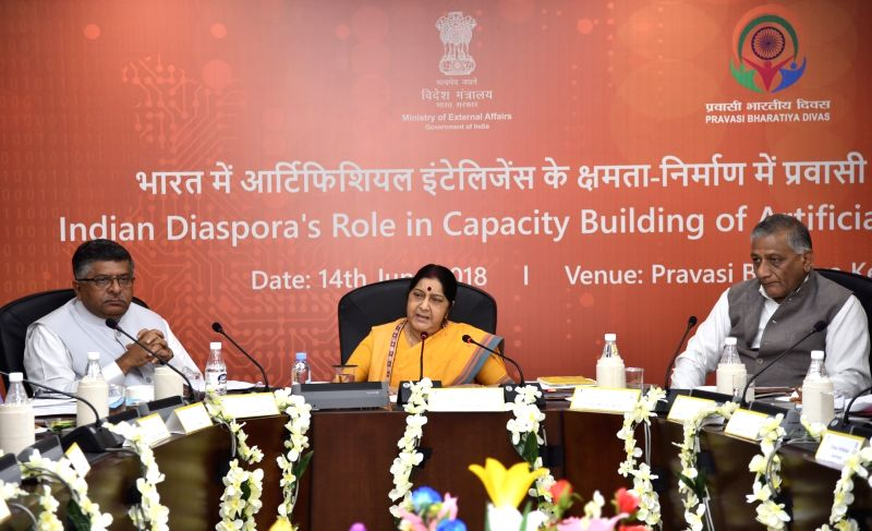 External Affairs Minister Sushma Swaraj chairs panel discussion on ''Indian Diaspora's Role in Capacity Building of Artificial Intelligence in India'' in New Delhi, on June 14, 2018. - Sushma Swaraj