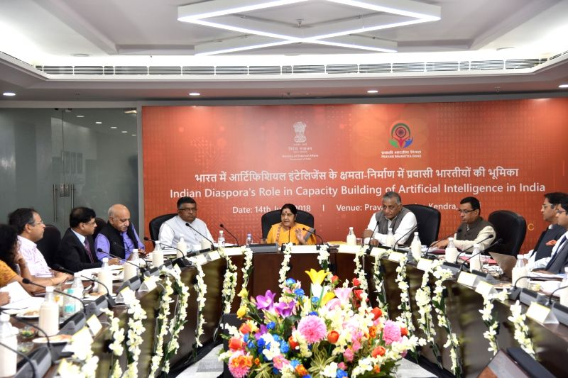 External Affairs Minister Sushma Swaraj chairs a panel discussion on ''Indian Diaspora's Role in Capacity Building of Artificial Intelligence in India'', in New Delhi on June 14, 2018. ... - Sushma Swaraj