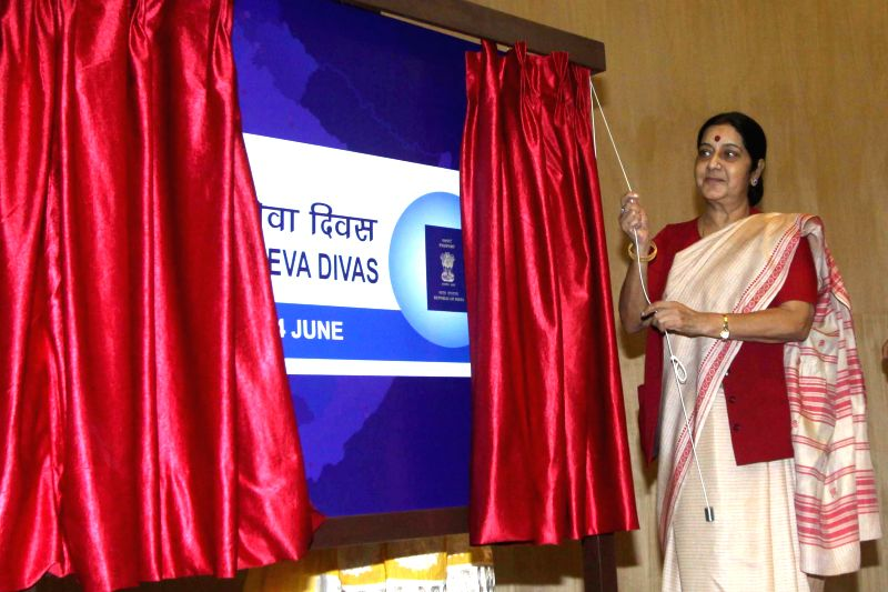 External Affairs Minister Sushma Swaraj during a programme organised on 'Passport Service Day' in New Delhi on June 24, 2014. - Sushma Swaraj