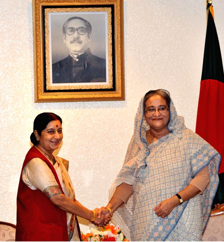 External Affairs Minister Sushma Swaraj during a meeting with Prime Minister of Bangladesh, Sheikh Hasina in Dhaka, Bangladesh on June 26, 2014.