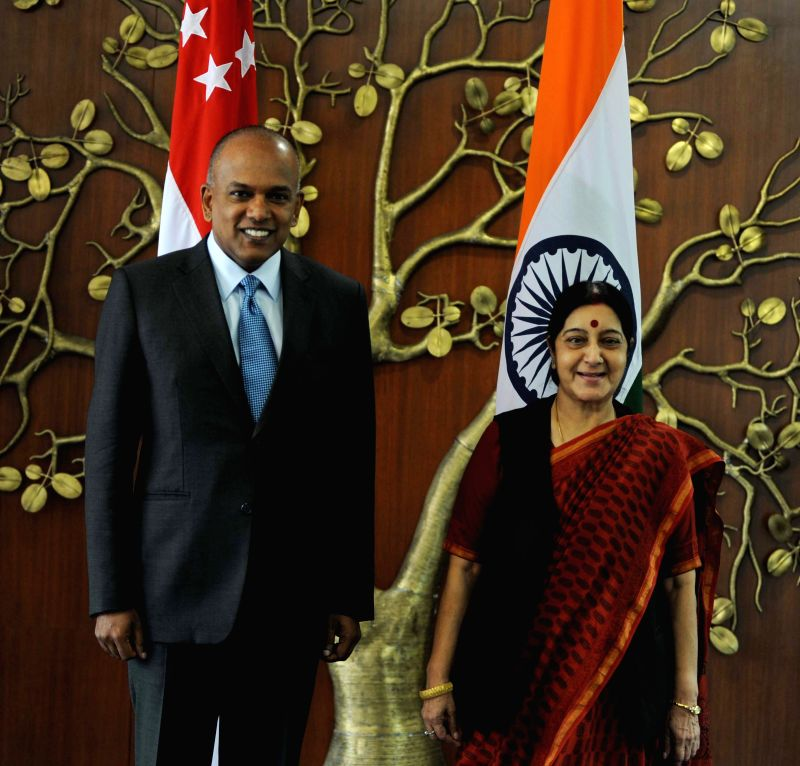 External Affairs Minister Sushma Swaraj during a meeting with Singapore's Foreign and Law Minister K Shanmugam in New Delhi on July 1, 2014.