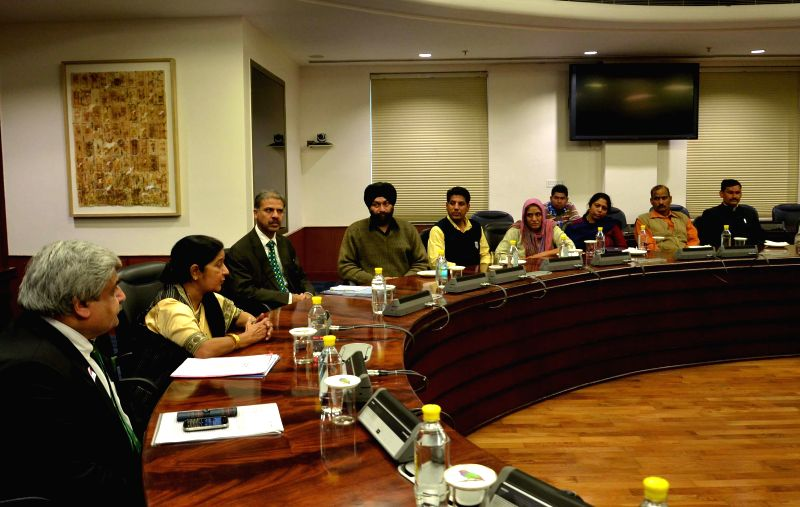 External Affairs Minister Sushma Swaraj during a meeting with the family members of Indians held as captive in Iraq, in New Delhi on Dec 5, 2014.