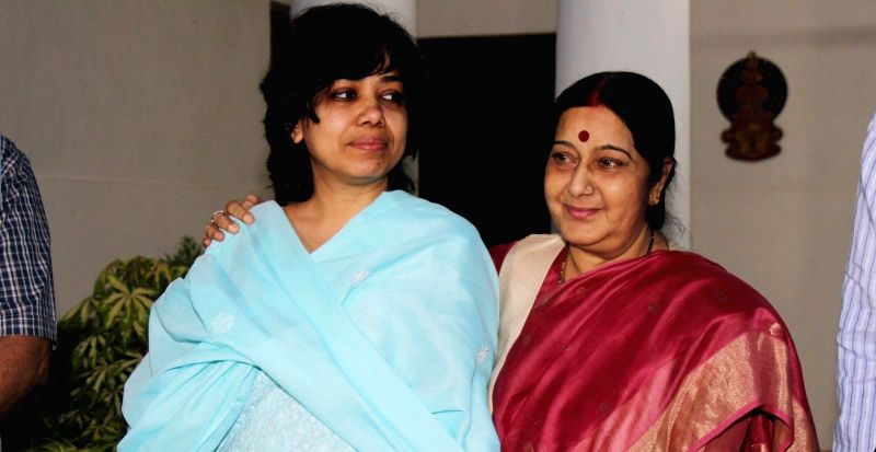 External Affairs Minister Sushma Swaraj greets Judith D'Souza in New Delhi on July 23, 2016. Also seen both the Minister of State, External for Affairs VK Singh and M. J. Akbar. Judith ... - Sushma Swaraj