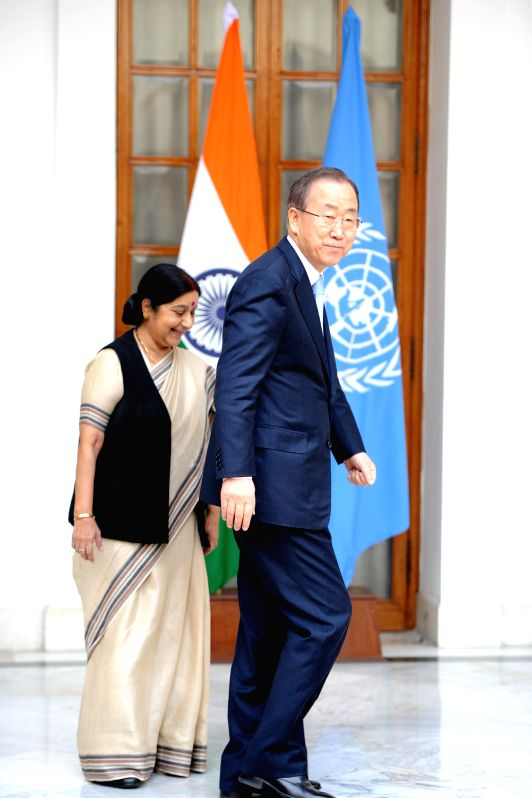External Affairs Minister Sushma Swaraj meets Secretary General of United Nations Ban Ki-Moon in New Delhi on Jan 12, 2015.