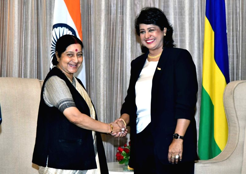 External Affairs Minister Sushma Swaraj meets President Bibi Ameenah Firdaus Gurib-Fakim of Mauritius in New Delhi on Dec 7, 2015.