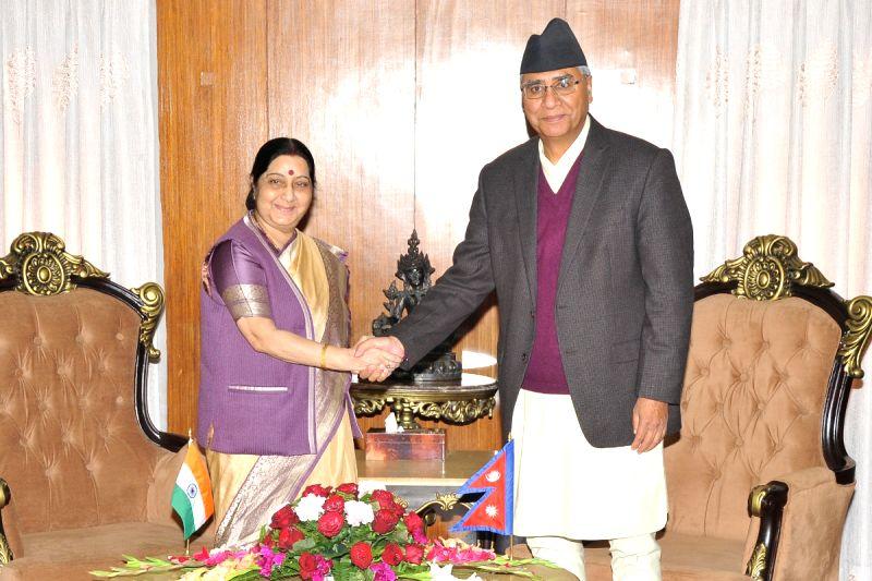 External Affairs Minister Sushma Swaraj meets Nepal's Prime Minister Sher Bahadur Deuba in Kathmandu on Feb 2, 2018. - Sushma Swaraj