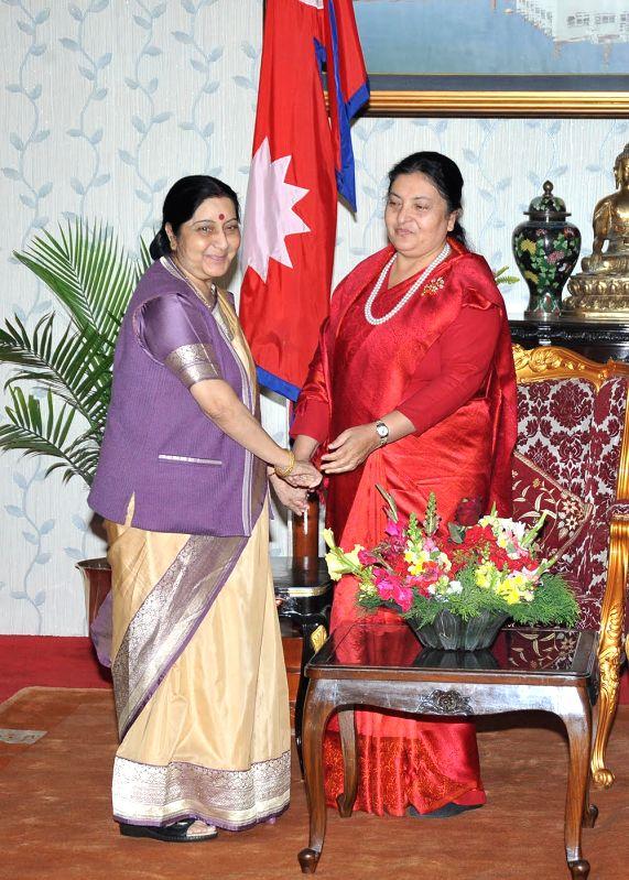 External Affairs Minister Sushma Swaraj meets Nepal's President Bidya Devi Bhandari in Kathmandu on Feb 2, 2018. - Sushma Swaraj