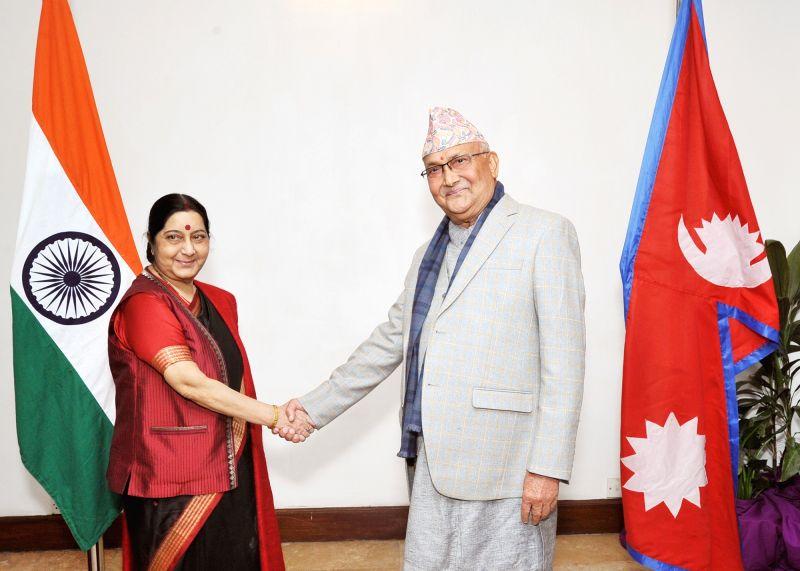 External Affairs Minister Sushma Swaraj meets Communist Party of Nepal-United Marxist Leninist Chairman KP Sharma Oli in Kathmandu on Feb 1, 2018. - Sushma Swaraj