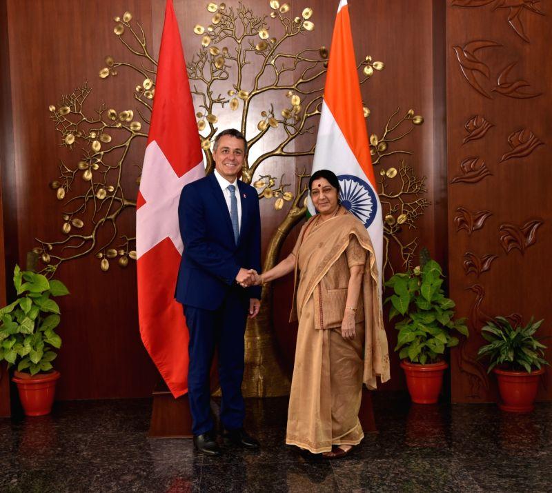 External Affairs Minister Sushma Swaraj meets Switzerland Foreign Affairs Minister Ignazio Cassis, in New Delhi, on Aug 10, 2018. - Sushma Swaraj