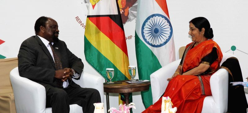 External Affairs Minister Sushma Swaraj meets S.S Mumbengegwi, the Foreign Minister of the Republic of Zimbabwe on the sidelines of 3rd India Africa Forum Summit in New Delhi, on Oct 27, ...
