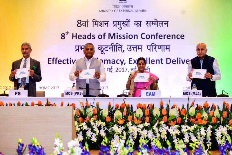 """External Affairs Minister Sushma Swaraj releases """"INDIA SURGING AHEAD"""" -a booklet  on successful economic diplomacy at the inauguration of 8th HOM Conference in New Delhi on May ... - Sushma Swaraj"""