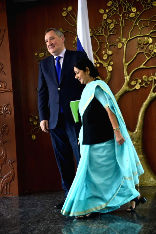 External Affairs Minister Sushma Swaraj with Deputy Prime Minister of Russia, Dmitry O Rogozin during a meeting in New Delhi on June 18, 2014.