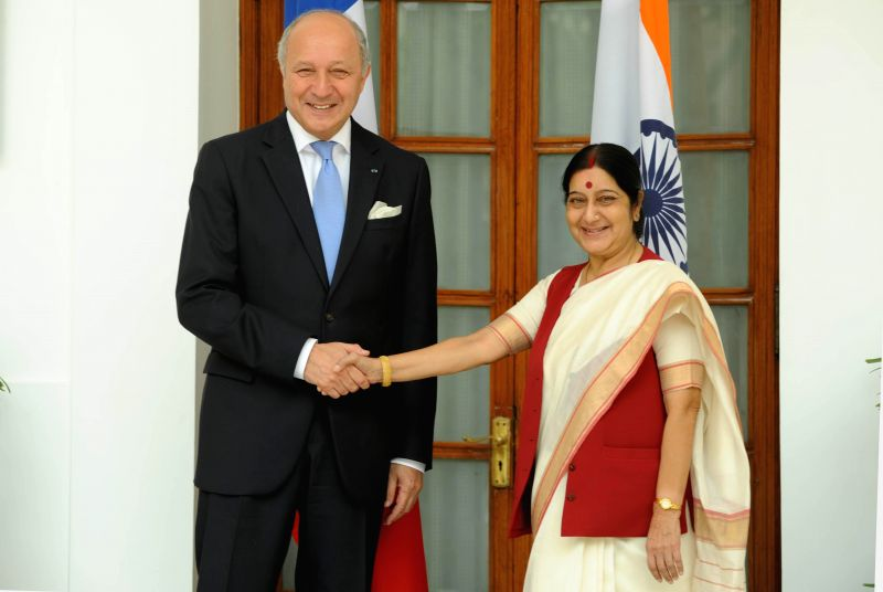 External Affairs Minister Sushma Swaraj with her French counterpart Laurent Fabius in New Delhi on June 30, 2014.
