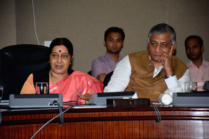 External Affairs Minister Sushma Swaraj with MoS for External Affairs V K Singh during a press conference to launch an online system for facilitating transportation of mortal remains from ECR ... - Sushma Swaraj
