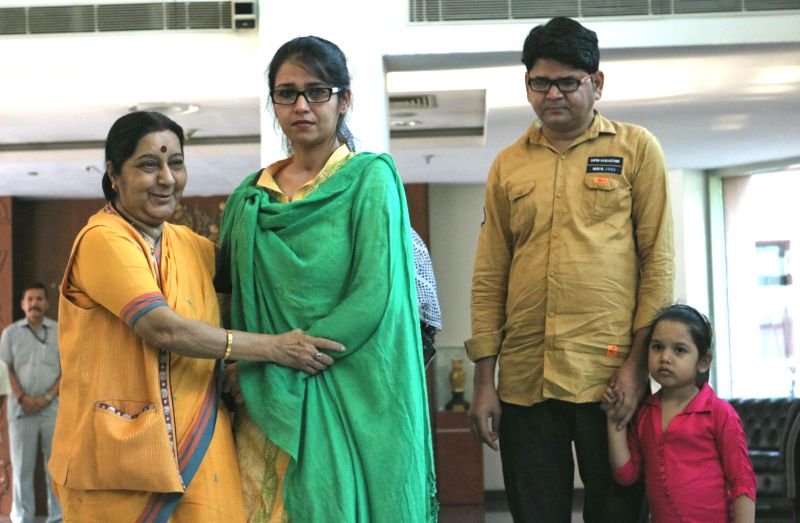 External Affairs Minister Sushma Swaraj with Uzma Ahmed, who alleged she was forced to marry a Pakistani man in New Delhi, on May 25, 2017. - Sushma Swaraj