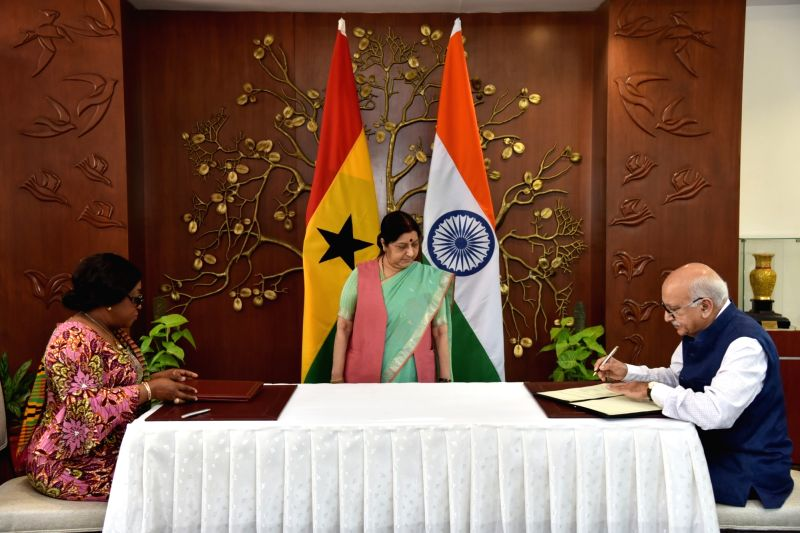 External Affairs Minister Sushma Swaraj witnesses the signing of MoUs between Ghana's Foreign Affairs and Regional Integration Minister Shirley Ayorkor Botchwey and MoS External Affairs M ... - Sushma Swaraj