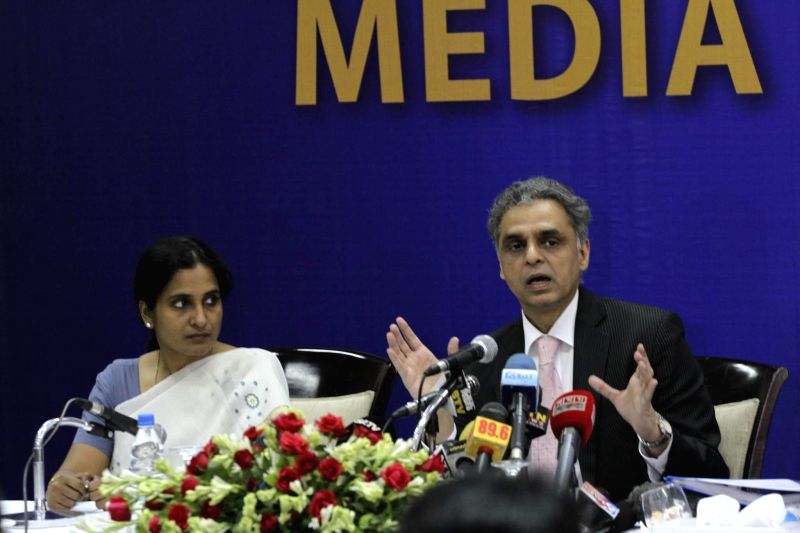 External affairs ministry spokesperson Syed Akbaruddin addresses a press conference in Dhaka, Bangladesh on June 26, 2014.
