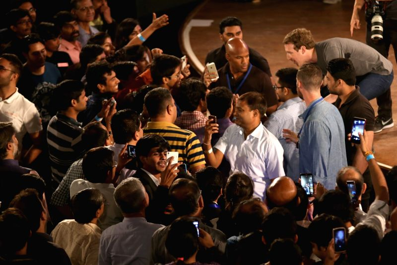Facebook Inc. founder Mark Zuckerberg during a Q&A session with IIT students in New Delhi on Oct 28, 2015.