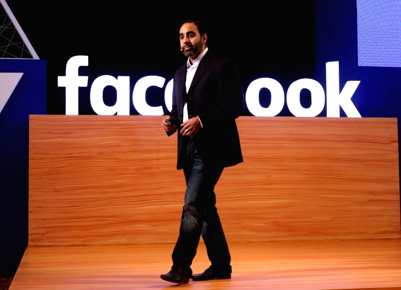 "Facebook Product Manager Adit Vaidya addresses during Facebook's ""A Place to Connect"" programme in New Delhi on April 26, 2017. Facebook rolled out local camera effects designed ..."