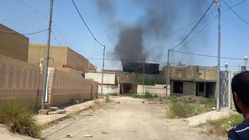 FALLUJAH, May 31, 2016 - Heavy smoke rises after an airstrike by the Iraqi Air Force in Islamic State (IS) seized city of Fallujah, Iraq, on May 31, 2016. Iraqi security forces on Tuesday repelled an ...