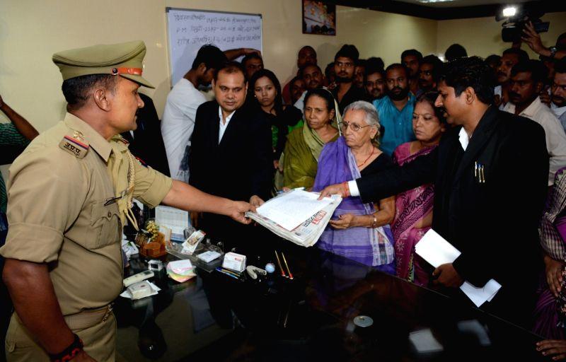 Family members of expelled BJP leader Dayashankar Singh filed an FIR against Mayawati and senior BSP leaders for allegedly using foul language against them; in Lucknow on July 22, 2016. - Dayashankar Singh