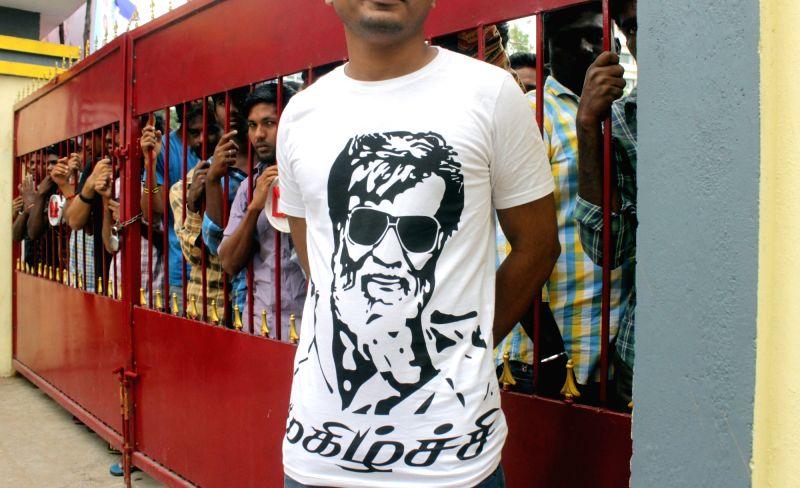 Fans celebrates the release of actor Rajinikanth's film Kabali in Chennai on July 22, 2016. - Rajinikant
