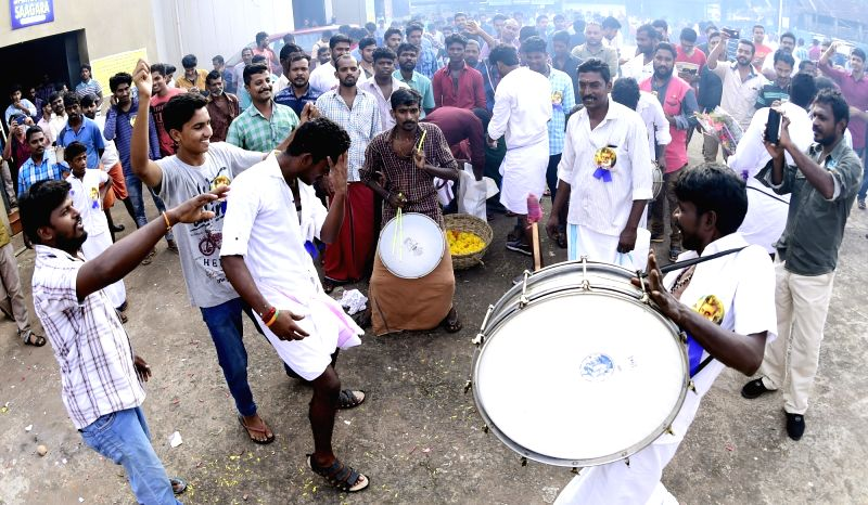 Fans celebrates the release of actor Rajinikanth's film Kabali in Kannur district of Kerala on July 22, 2016. - Rajinikant