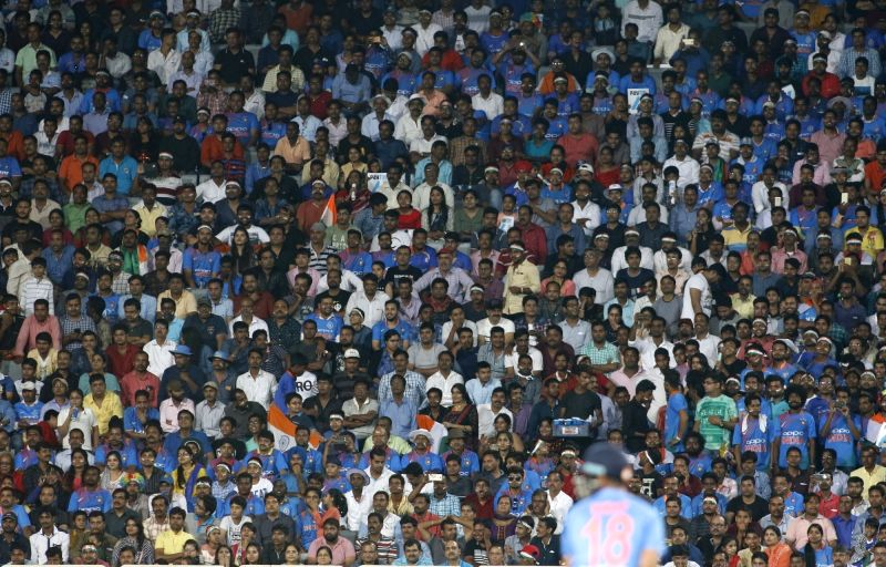 Fans during the first T20 match between India and Australia at JSCA International Stadium in Ranchi on Oct 7, 2017.