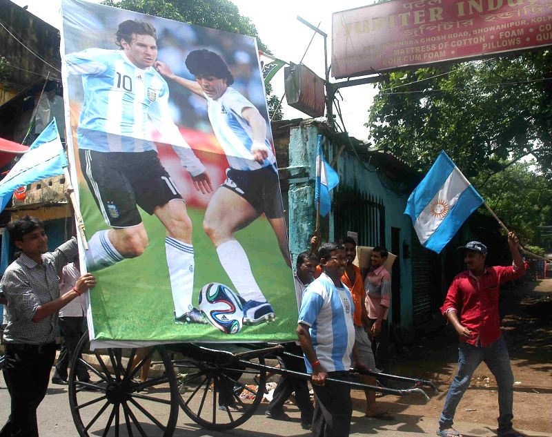 Fans of Argentine football team ahead of FIFA World Cup Finals in Kolkata on July 13, 2014.