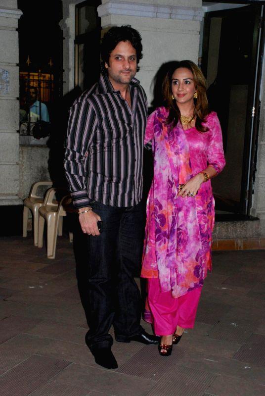 Fardeen khan with wife Natasha at Mata ki Chowki at Bandra.
