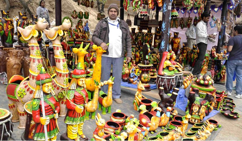 A stall at the 29th Surajkund International Crafts Mela in Faridabad on Feb. 2, 2015.