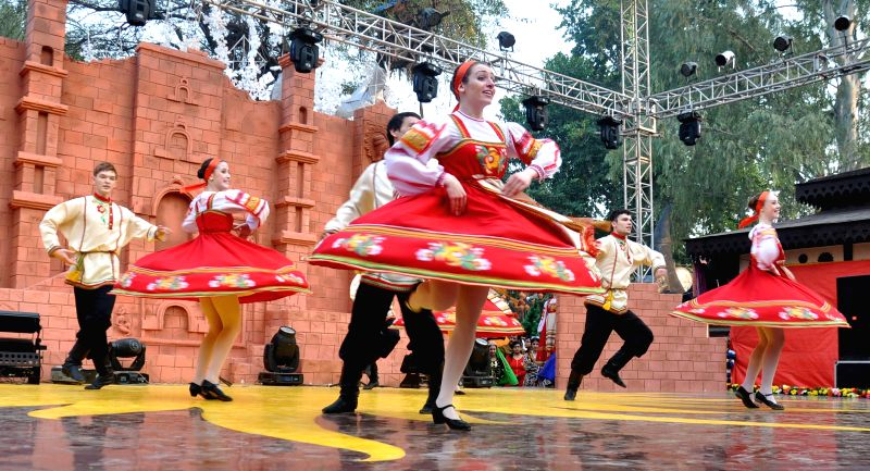 Russian artists perform at the 29th Surajkund International Crafts Mela in Faridabad on Feb. 2, 2015.