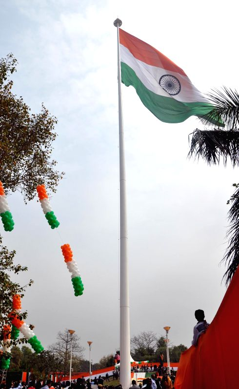 World's largest and tallest Indian tricolour flutters at Town Park in Faridabad, Haryana on March 3, 2015.