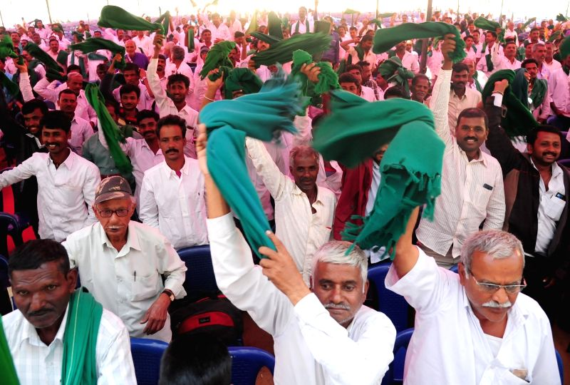 Farmers during the inauguration of the Farmers Conference organised by Karnataka Farmers Association and Hasiru Sene, in Bengaluru on Jan 31, 2018.