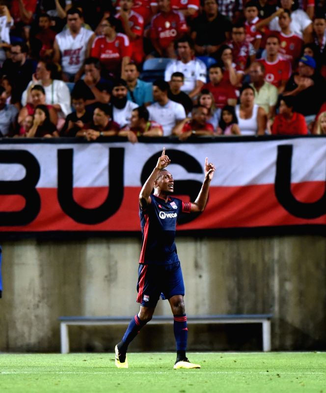 FARO, Aug. 2, 2018 - Marcelo Guedes of Olympique Lyonnais celebrates scoring during the International Champions Cup match against SL Benfica in Faro, Portugal, Aug. 1, 2018. Olympique Lyonnais won ...