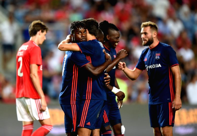 FARO, Aug. 2, 2018 - Players of Olympique Lyonnais celebrate scoring during the International Champions Cup match against SL Benfica in Faro, Portugal, Aug. 1, 2018. Olympique Lyonnais won 3-2.