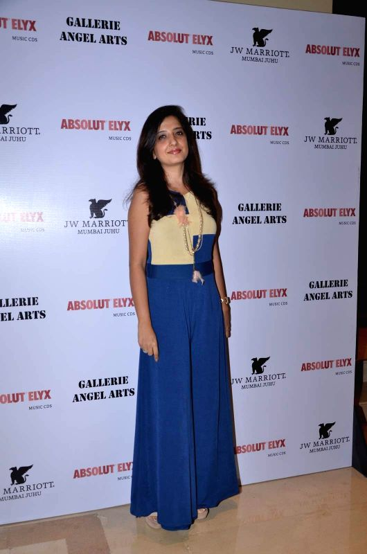Fashion Designer Amy Billimoria attends Gallerie Angel Arts curated work `In An Artist's Mind` exhibition in Mumbai on August 14, 2015.