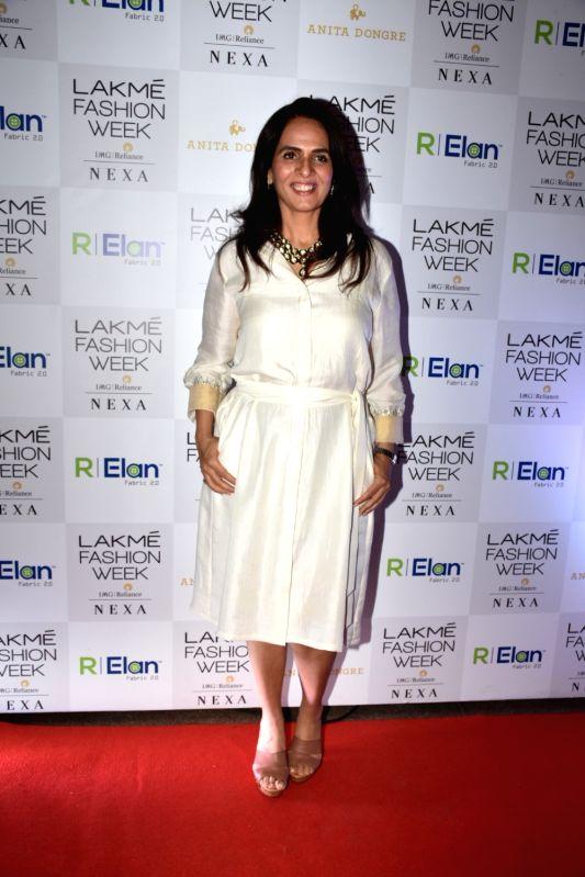 Fashion designer Anita Dongre during the Lakme Fashion Week Summer/Resort 2018 in Mumbai on Jan 31, 2018.