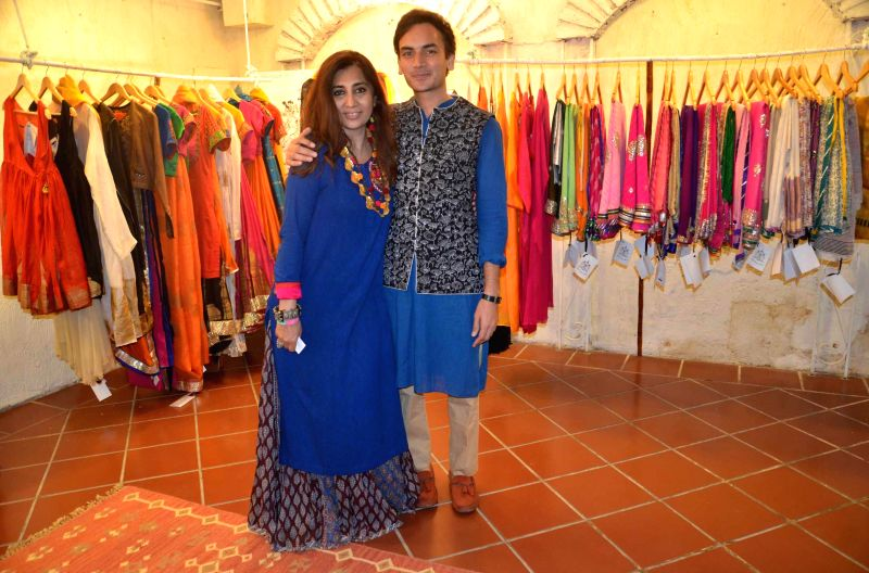 Fashion designer Chetan Chiller and dancer Renuka Kumar during a jewellery show in Lucknow on on Aug 3, 2014. - Renuka Kumar