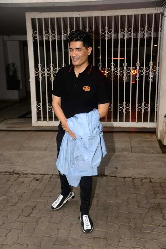 Fashion designer Manish Malhotra seen at filmmaker Karan Johar's residence in Mumbai on July 22, 2018. - Manish Malhotra