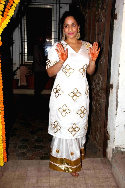 Fashion designer Masaba Gupta during the Fashion designer Masaba Gupta sangeet ceremony in Mumbai on November 21, 2015.