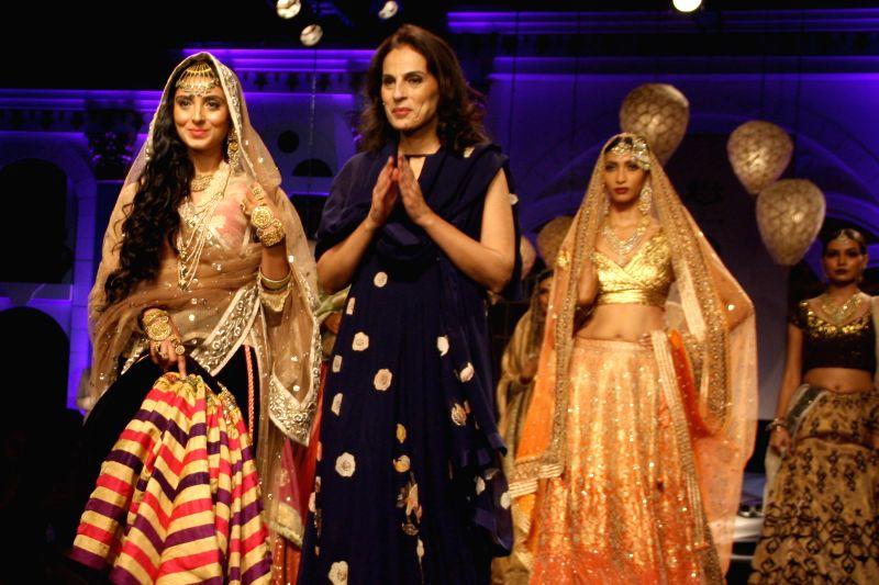 Fashion designer Meera Muzaffar Ali during `BMW India Bridal Fashion Week 2014` in New Delhi on Aug 10, 2014.